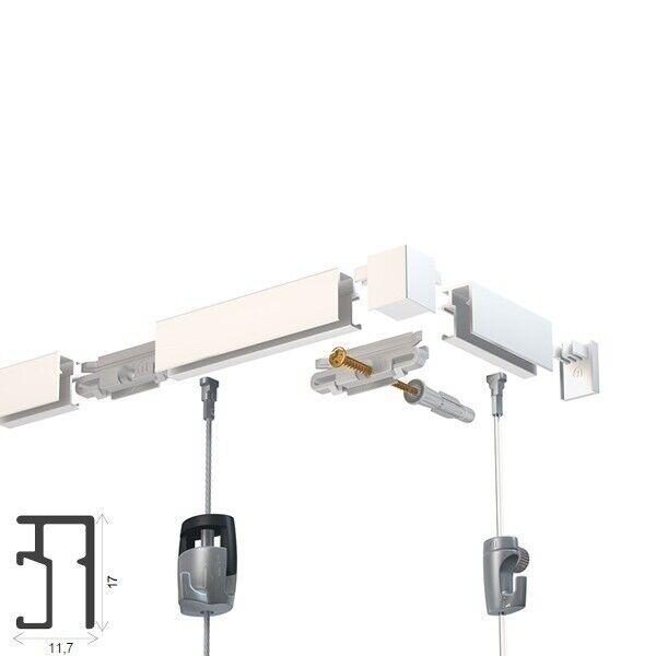 Montagematerial inkl 2 Meter Bilderschienen Set Newly R10 Galerieschienen