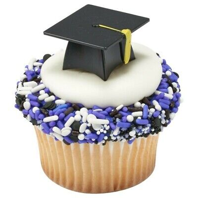 24 Black 3D Graduation Cap Hat Cupcake Picks Cake Candy Cookie Pop Decorations](Black Cupcake Decorations)