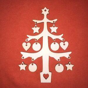 1 x CHRISTMAS TREE & ornaments CHRISTMAS SHAPE PLAIN WOODEN TAG  HANGING CRAFT