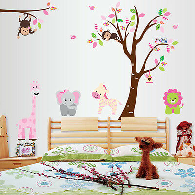 Monkey Lion Tree Removable Vinyl Decal Wall Stickers For Kids Room Home Decor