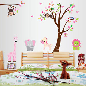 New-Monkey-Lion-Tree-Removable-Vinyl-Wall-Decal-Stickers-Kids-Room-Home-Decor