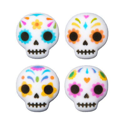 Day of The Dead Skulls Edible Sugar Decorations - 12 Count