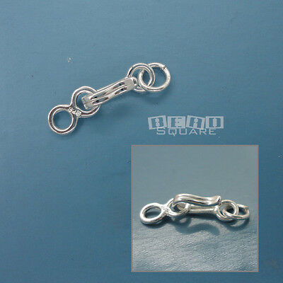 1 Set Solid Sterling Silver Hook Clasp w/ Eye Connector & Jump Ring #33231 ()