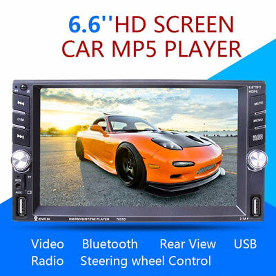 """6.6"""" Touch Screen 2DIN MP5 Bluetooth FM Radio Stereo Player & Rear Camera Superb"""