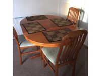 Wooden dining table x 4 chairs