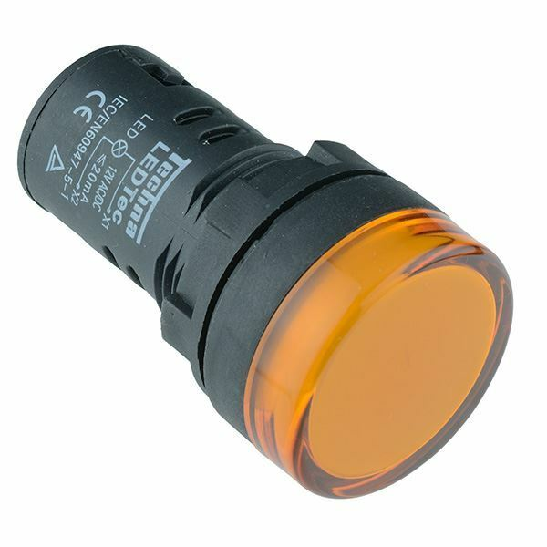 Yellow / Amber 22mm LED Pilot Panel Indicator Light 24V High Quality Techna