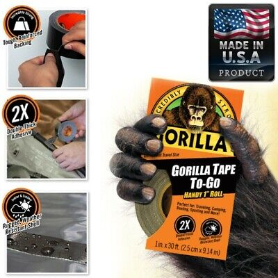 Black Gorilla Duct Tape Handy Roll All Weather Waterproof Adhesive For Camping