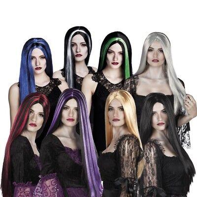 HEXEN Perücke Langhaar weiß schwarz grau blond Damen Kostüm Hexe Vamp Halloween