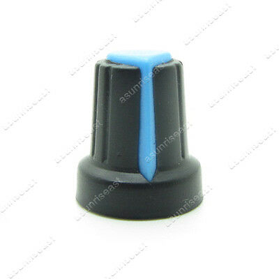 10 X Black Blue Potentiometer Pot Rotary Knob Plastic Cap For 6mm Knurled Shaft