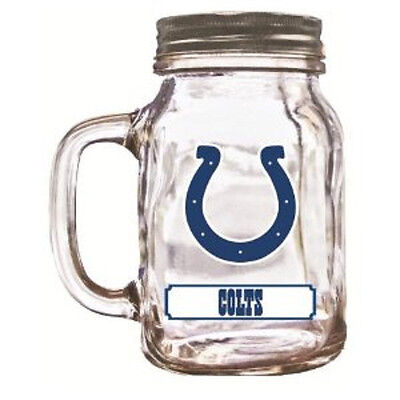 Indianapolis Colts Mason Jar - 20oz Glass With Lid [NEW] NFL Mug Pint CDG