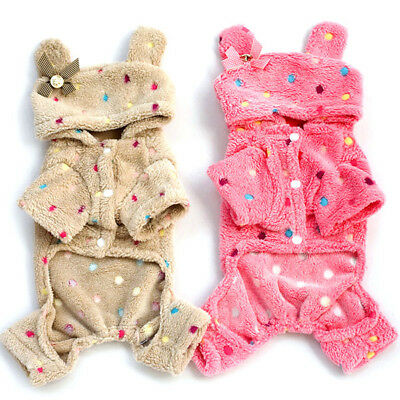- US Pet Dog Cute Soft Warm Pajamas Coat Polka Dot Puppy Hoodie Jumpsuit Clothes