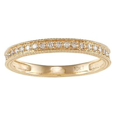Yellow or Rose Gold 1/4ct Vintage Style Pave Diamond Band (G-H, I1-I2) ()