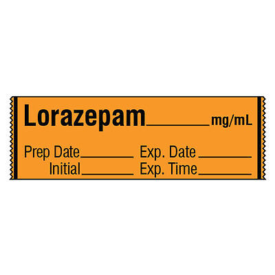 Tranquilizer Medication Label Tape Lorazepam  Mg Ml 500 Roll