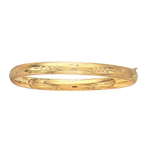 "10kt Yellow Gold Florentine Etched Bangle Hinged Bracelet 7""  5mm 3/16"" 4 grams"