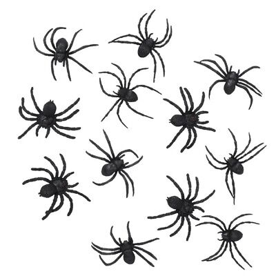12 große Schwarze Spinnen (ca. 6x7cm) - Halloween Deko #466