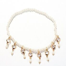 Faux Pearl Hollow Out Round Alloy Tassel Anklet