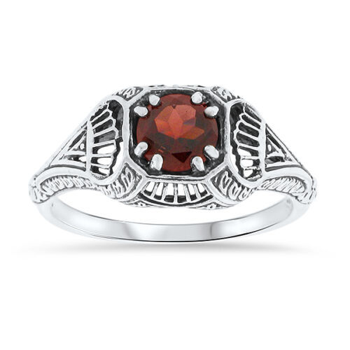 GENUINE GARNET ANTIQUE FILIGREE STYLE .925 STERLING SILVER SOLITAIRE RING,   #18