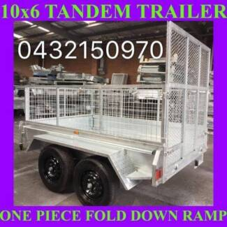 10x6 HEAVY DUTY TANDEM TRAILER WITH CRATE & RAMP HOT GALVANISED 2