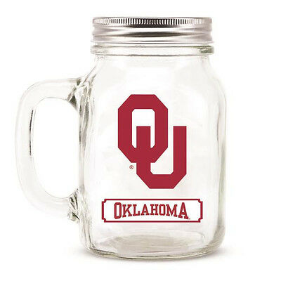 Oklahoma Sooners Mason Jar - 20oz Glass With Lid [NEW] NCAA Mug Pint CDG