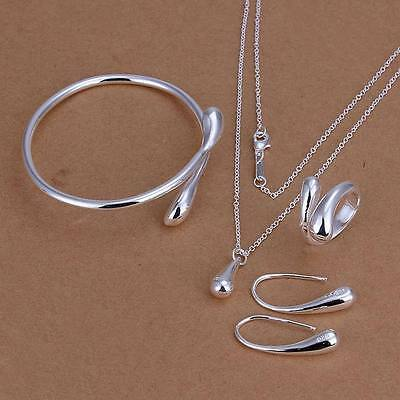 925 solid women silver Fashion Drop Ring Earring Necklace Bangle Set S222 Necklace Earring Ring