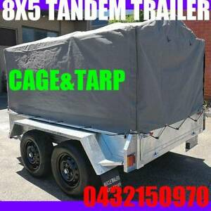 8x5 galvanised tandem box trailer with high mesh cage and tarp