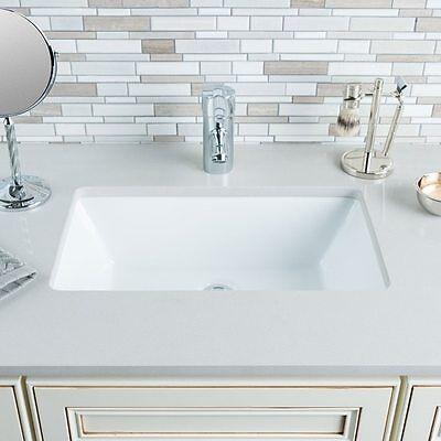 Ceramic Route Rectangular Bowl Under mount White Bathroom Sink Porcelain Modern