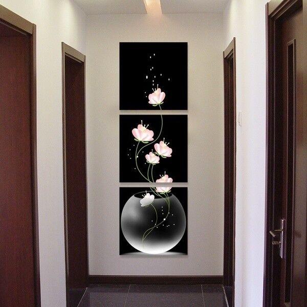 3pcs Flowers Vase Canvas Porch Corridor Frameless Home Art Decor Wall Printings
