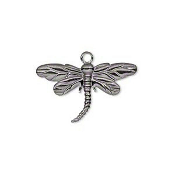 Dragonfly Charm Steampunk Gunmetal Jewelry 1 inch Scrapbooking Lot of 20