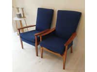 x2 Blue Refurbished Parker Knoll chairs Immaculate