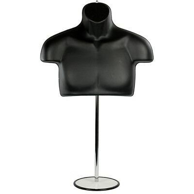 Mn-447 Male Half Body T-shirt Hanging Torso Mannequin Form W Adjustable Stand
