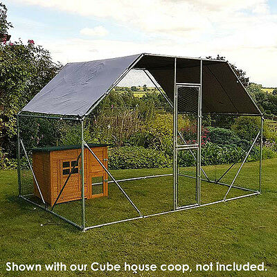 CHICKEN RUN 2M X 3M WALK IN COOP FOR POULTRY DOG RABBIT HEN CAGE PEN METAL DOOR