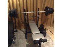 74kg of weights, York bench, solid bar and two dumbell bars