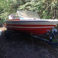 Boat on trailer with motor