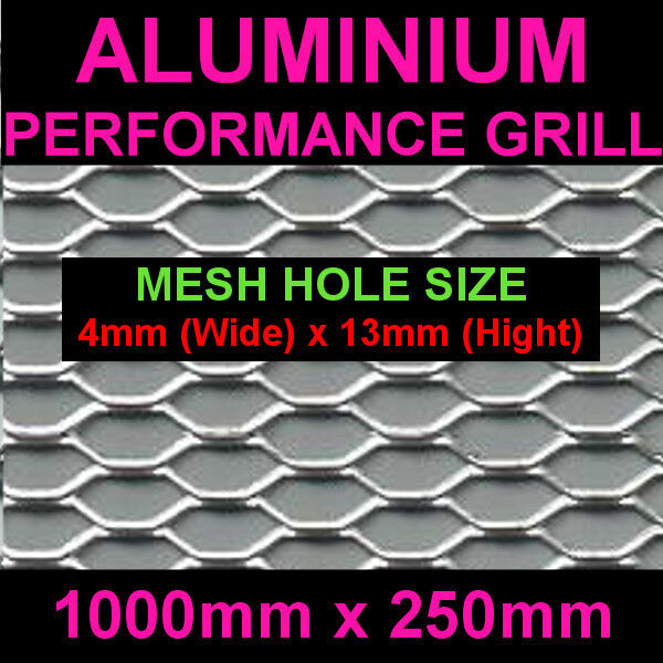 Silver Aluminium Racing Grille Net Vent Race Car Tuning 25x100cm Mesh 4x13mm