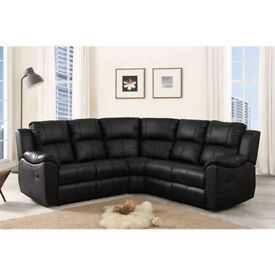 LUXERY LEATHER RECLINER CORNER OR 3+2 SOFA BLACK LEATHER 837CCAEEC