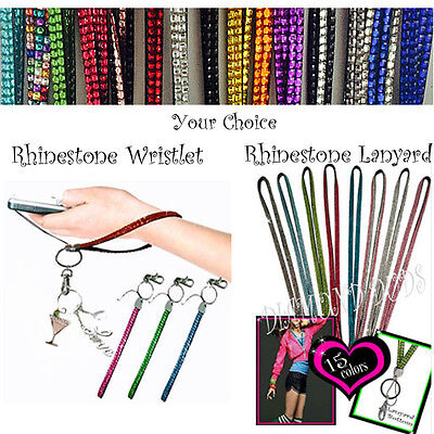 * Wholesale * Rhinestone sparkle lanyard necklace or wristlet bracelet  bling  (Lanyard Necklace)
