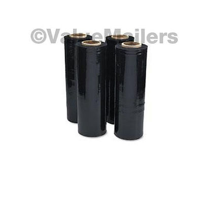 2 Rolls 80 Gauge 18 X 1500 Black Pallet Hand Plastic Stretch Film Quality Wrap