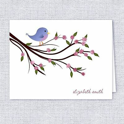 Whimsical Little Bird Note Cards, Personalized Stationery, Set of 10 Folded