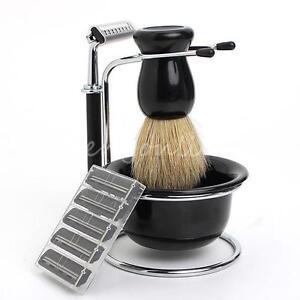 4 in 1 men chrome kit soap dish stand bowl shaving razor beard brush shaver set. Black Bedroom Furniture Sets. Home Design Ideas