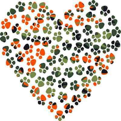 30 Custom Orange Camo Paw Heart Personalized Address Labels