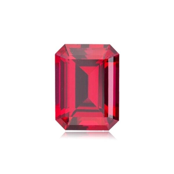 5.63 Cts of 11x9 mm AAA Emerald Cut Swiss Synthetic Corundum Ruby Loose Gemstone
