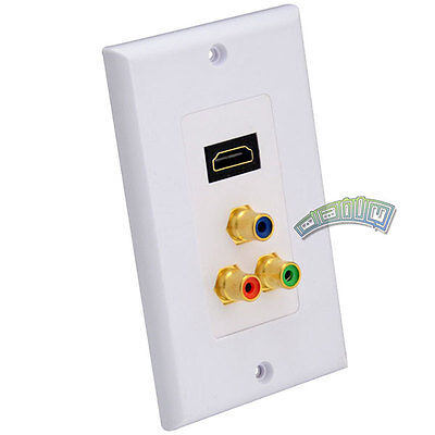 HDMI + Component 3-RCA RGB Wall Plate Audio Media Outlet Jack HDTV 1080P - White