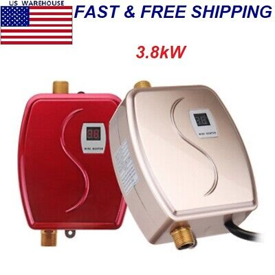 Mini Water Heater Tankless Instant Hot Water Faucet Kitchen Heating Thermostat ()
