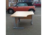 Compact office desk light oak