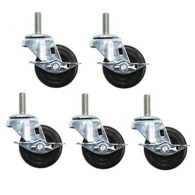 Five Swivel Stem Casters 3 X 1-14 Wheels 12 Threaded Stems W Brakes