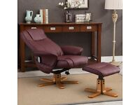 Reclining Massage chair with heat and foot stool with remote control