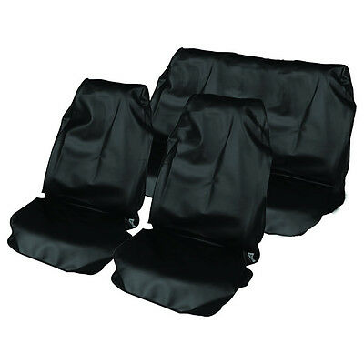 BLACK UNIVERSAL FIT CAR SEAT COVER SET   WATER RESISTANT FRONT  REAR COVERS NEW