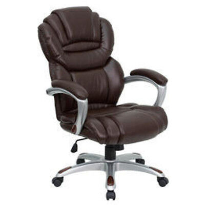Flash Furniture High Back Brown Leather Executive Office Chair W Loop Arms New