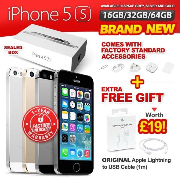 NEW NEW & SEALED FACTORY UNLOCKED APPLE IPHONE 5S 16 32 64GB SPACE GREY GOLD SILVER