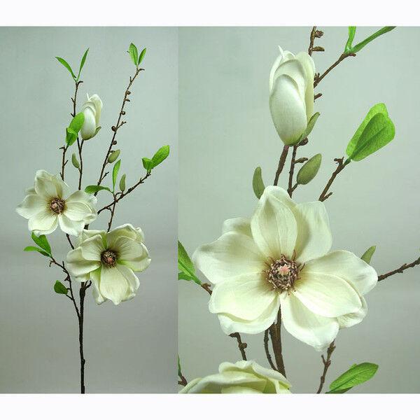 Magnolienzweig 90cm weiß-creme DP Seidenblumen Kunstblumen künstliche Magnolie